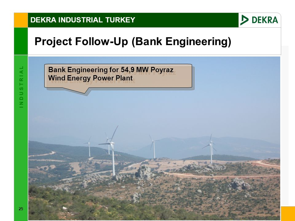 25 I N D U S T R I A L DEKRA INDUSTRIAL TURKEY Project Follow-Up (Bank Engineering) Bank Engineering for 54,9 MW Poyraz Wind Energy Power Plant