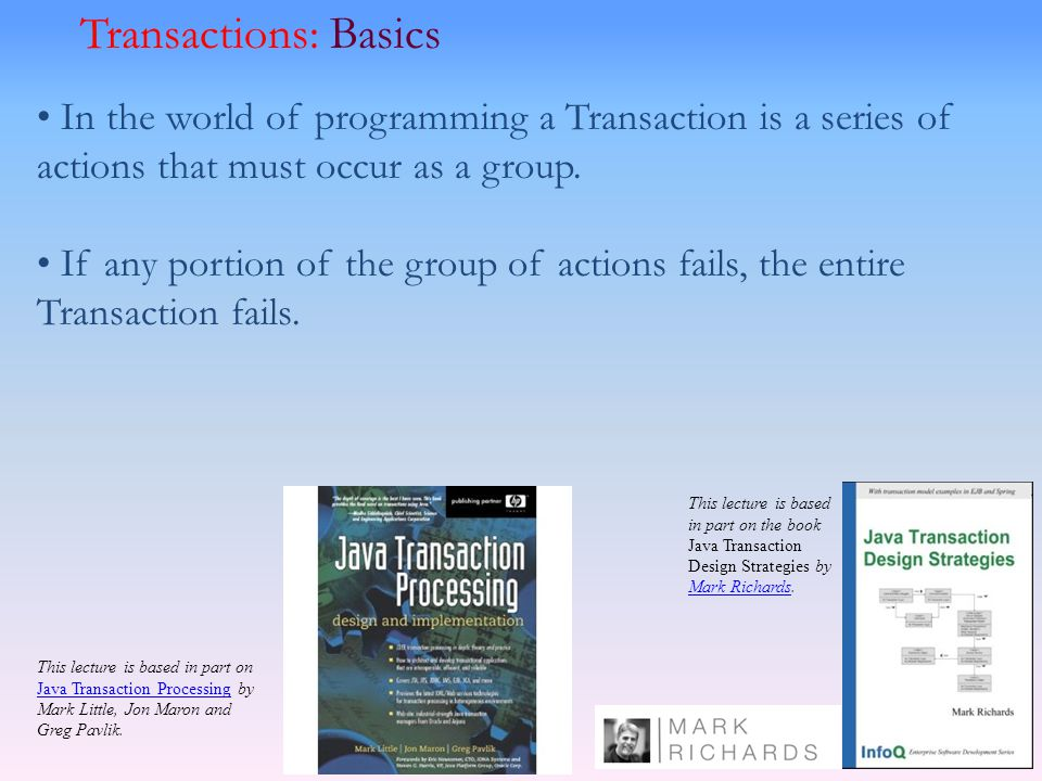 In the world of programming a Transaction is a series of actions that must occur as a group. If any portion of the group of actions fails, the entire