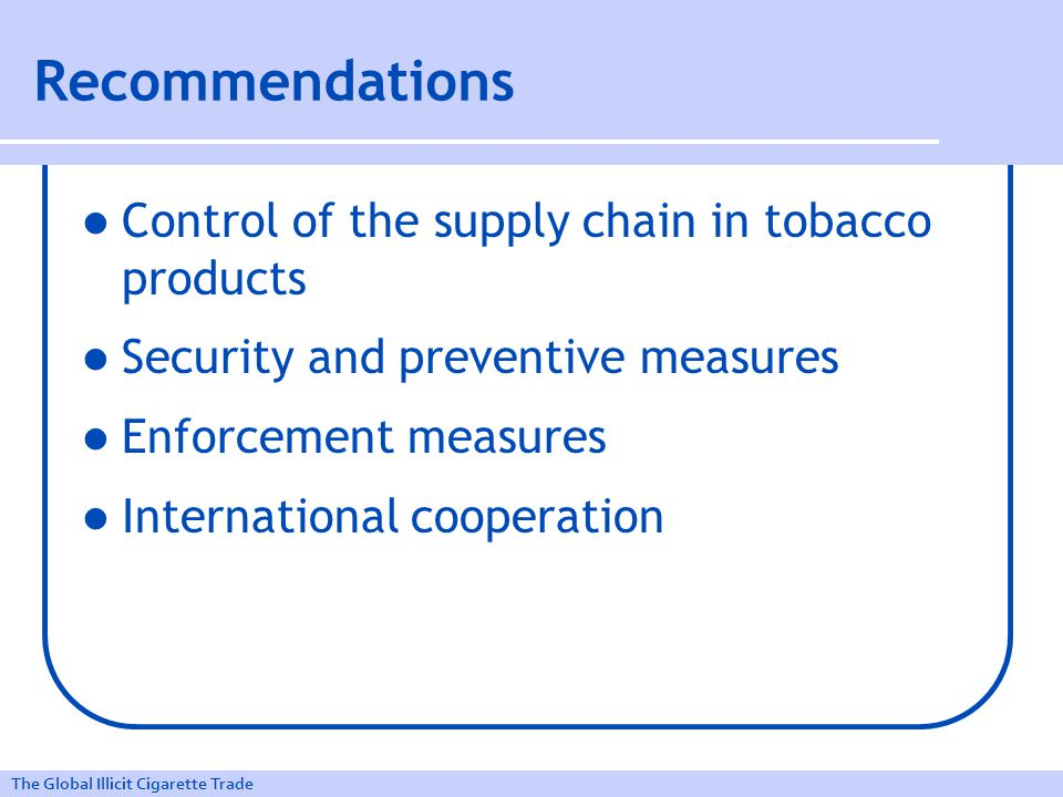 The Global Illicit Cigarette Trade Recommendations Control of the supply chain in tobacco products Security and preventive measures Enforcement measures International cooperation