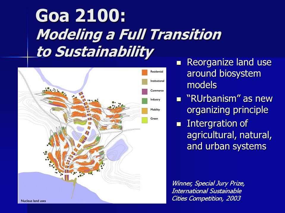 Winner, Special Jury Prize, International Sustainable Cities Competition, 2003 Goa 2100: Modeling a Full Transition to Sustainability Reorganize land use around biosystem models Reorganize land use around biosystem models RUrbanism as new organizing principle RUrbanism as new organizing principle Intergration of agricultural, natural, and urban systems Intergration of agricultural, natural, and urban systems