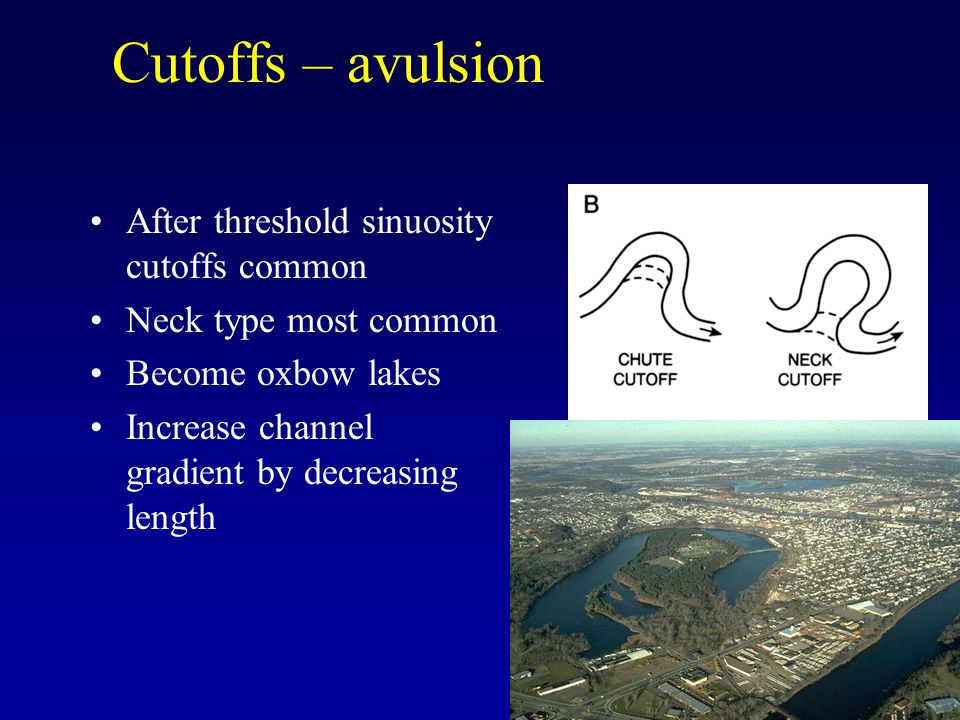Cutoffs – avulsion After threshold sinuosity cutoffs common Neck type most common Become oxbow lakes Increase channel gradient by decreasing length