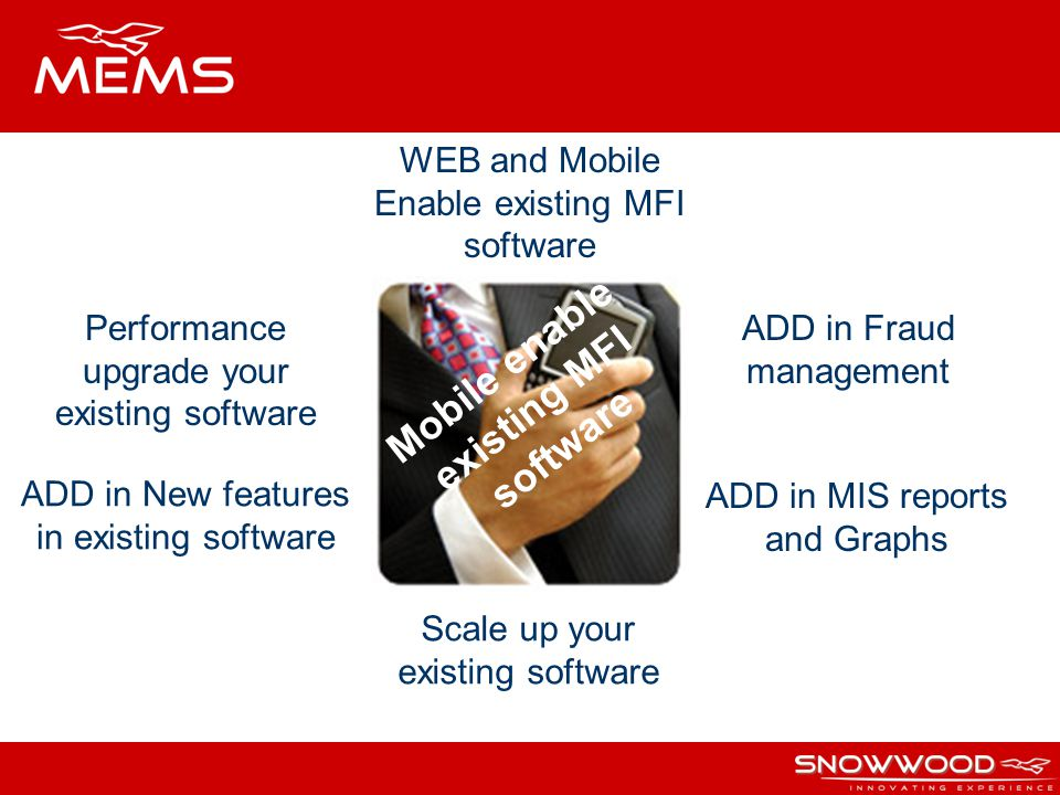 Mobile enable existing MFI software WEB and Mobile Enable existing MFI software ADD in Fraud management ADD in MIS reports and Graphs ADD in New featu