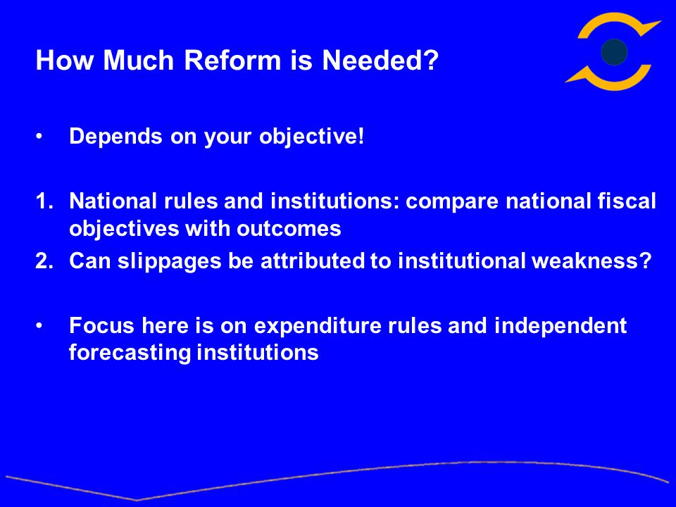 How Much Reform is Needed. Depends on your objective.