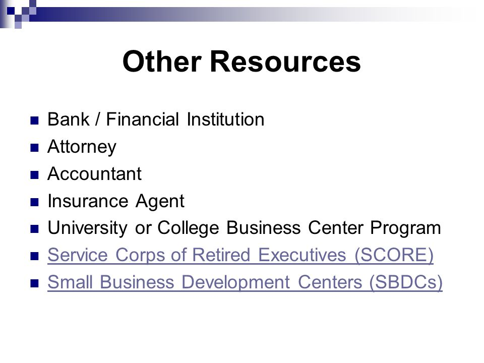 Other Resources Bank / Financial Institution Attorney Accountant Insurance Agent University or College Business Center Program Service Corps of Retired Executives (SCORE) Small Business Development Centers (SBDCs)