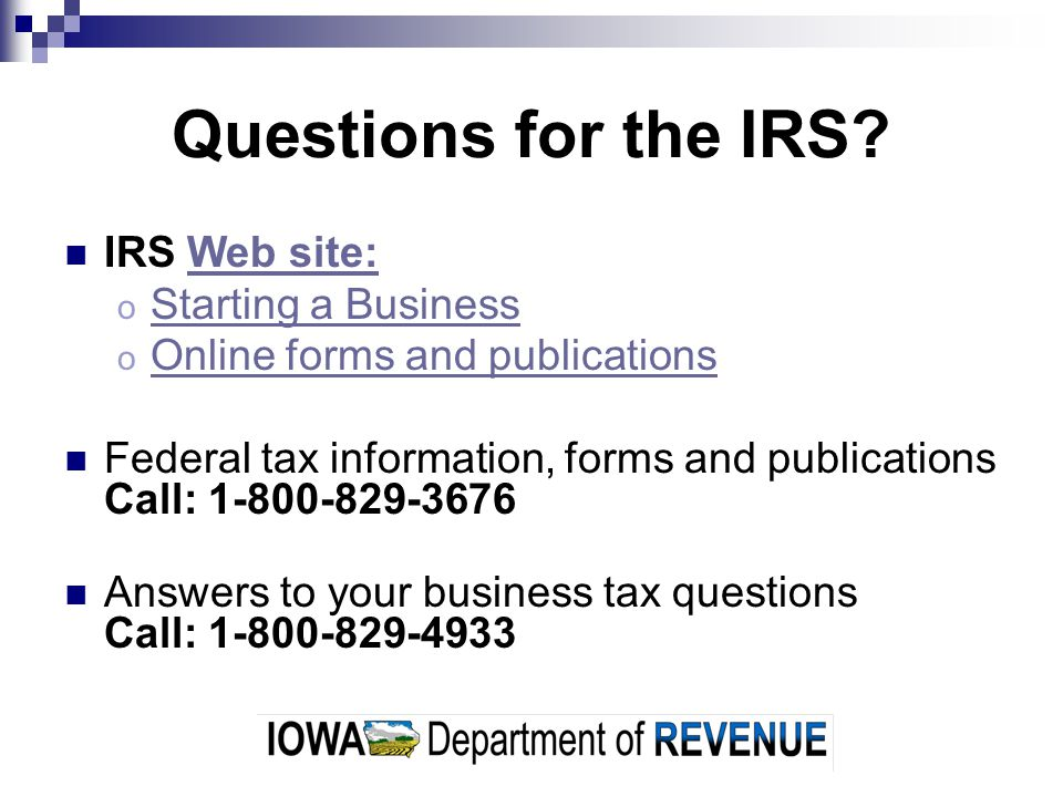 Questions for the IRS.