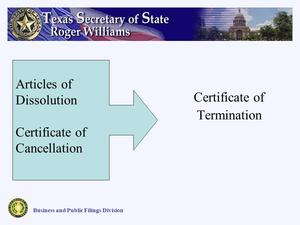Certificate of Termination Articles of Dissolution Certificate of Cancellation Business and Public Filings Division