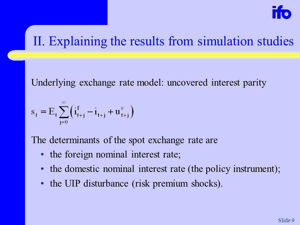 Slide 10 Optimised policy rules under a perfectly holding UIP condition and constant foreign interest rates 1.No informational gain from responding to contemporaneous exchange rate movements: the interest rate is the only determinant of the exchange rate.