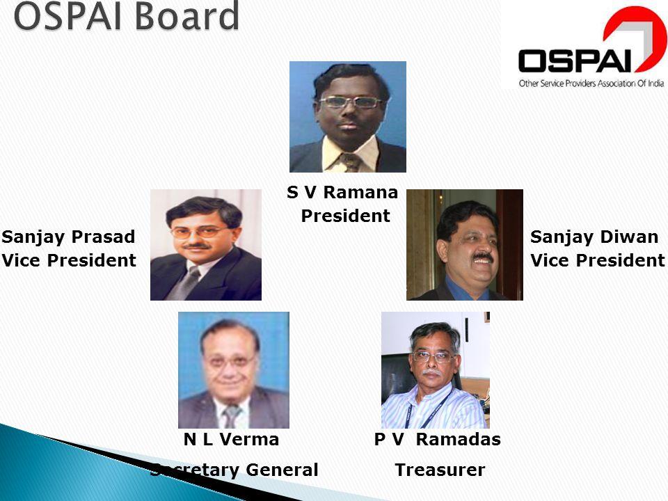 N L Verma Secretary General S V Ramana President Sanjay Diwan Vice President Sanjay Prasad Vice President P V Ramadas Treasurer