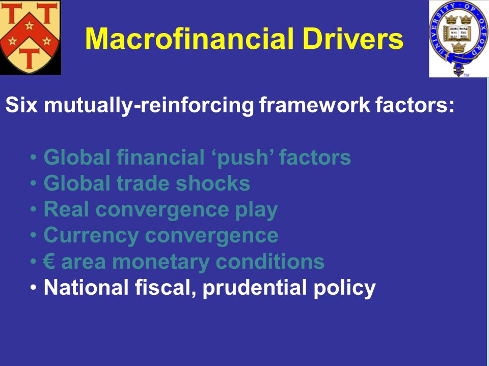 Macrofinancial Drivers Six mutually-reinforcing framework factors: Global financial push factors Global trade shocks Real convergence play Currency convergence area monetary conditions National fiscal, prudential policy