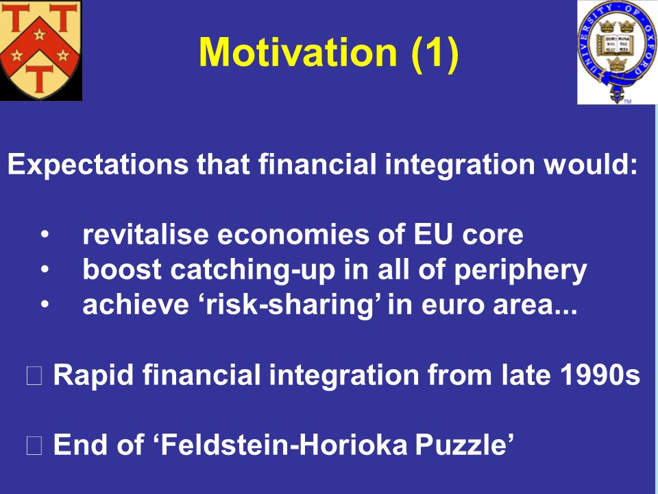 Motivation (1) Expectations that financial integration would: revitalise economies of EU core boost catching-up in all of periphery achieve risk-sharing in euro area...