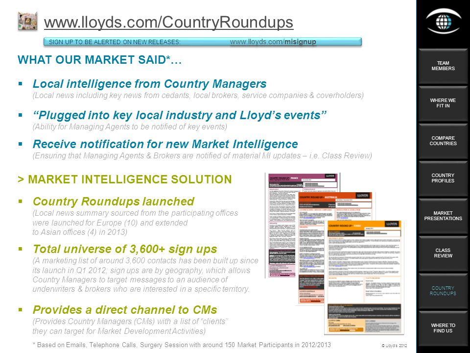 © Lloyds 2012 WHAT OUR MARKET SAID*…   C SIGN UP TO BE ALERTED ON NEW RELEASES:     SIGN UP TO BE ALERTED ON NEW RELEASES:     Local intelligence from Country Managers (Local news including key news from cedants, local brokers, service companies & coverholders) Plugged into key local industry and Lloyds events (Ability for Managing Agents to be notified of key events) > MARKET INTELLIGENCE SOLUTION Country Roundups launched (Local news summary sourced from the participating offices were launched for Europe (10) and extended to Asian offices (4) in 2013) Total universe of 3,600+ sign ups (A marketing list of around 3,600 contacts has been built up since its launch in Q1 2012; sign ups are by geography, which allows Country Managers to target messages to an audience of underwriters & brokers who are interested in a specific territory.