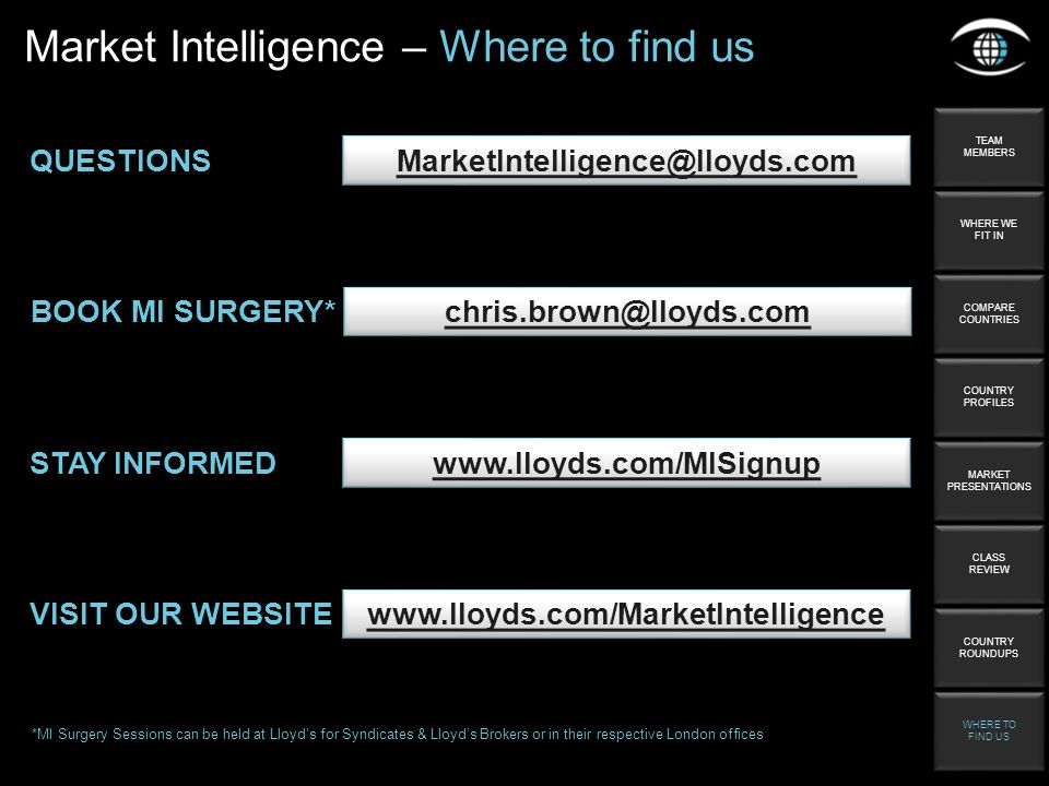 QUESTIONS STAY INFORMED   Market Intelligence – Where to find us TEAM MEMBERS TEAM MEMBERS WHERE WE FIT IN WHERE WE FIT IN COMPARE COUNTRIES COMPARE COUNTRIES COUNTRY PROFILES COUNTRY PROFILES MARKET PRESENTATIONS MARKET PRESENTATIONS CLASS REVIEW CLASS REVIEW COUNTRY ROUNDUPS COUNTRY ROUNDUPS WHERE TO FIND US WHERE TO FIND US BOOK MI SURGERY* *MI Surgery Sessions can be held at Lloyds for Syndicates & Lloyds Brokers or in their respective London offices VISIT OUR WEBSITE