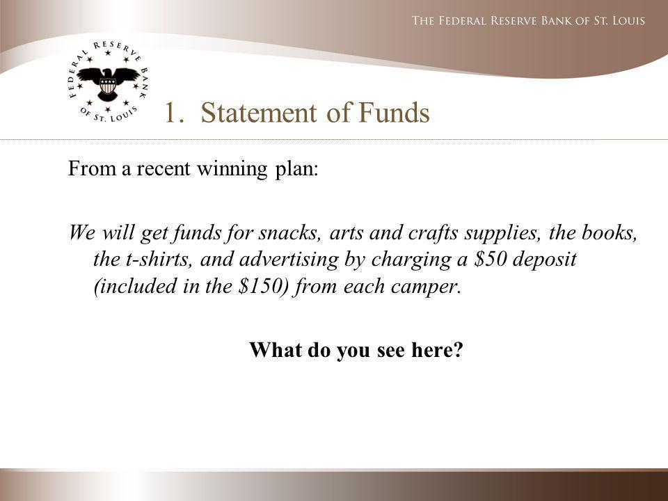 1. Statement of Funds From a recent winning plan: We will get funds for snacks, arts and crafts supplies, the books, the t-shirts, and advertising by