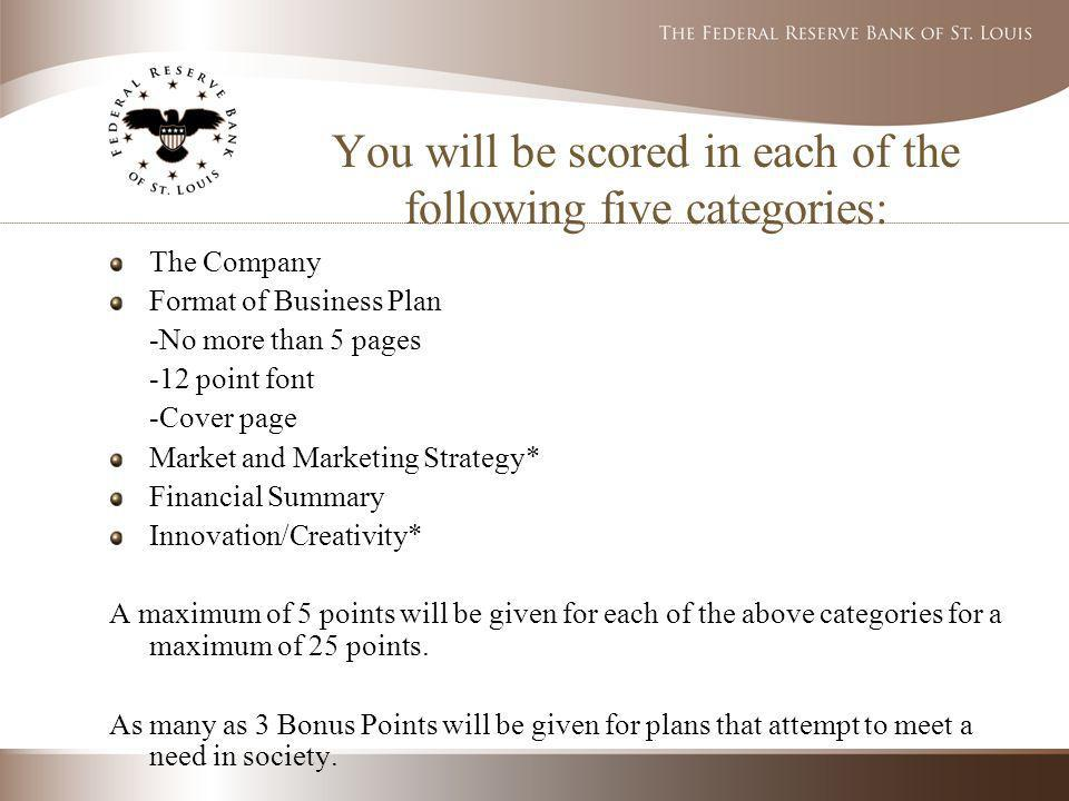 You will be scored in each of the following five categories: The Company Format of Business Plan -No more than 5 pages -12 point font -Cover page Market and Marketing Strategy* Financial Summary Innovation/Creativity* A maximum of 5 points will be given for each of the above categories for a maximum of 25 points.