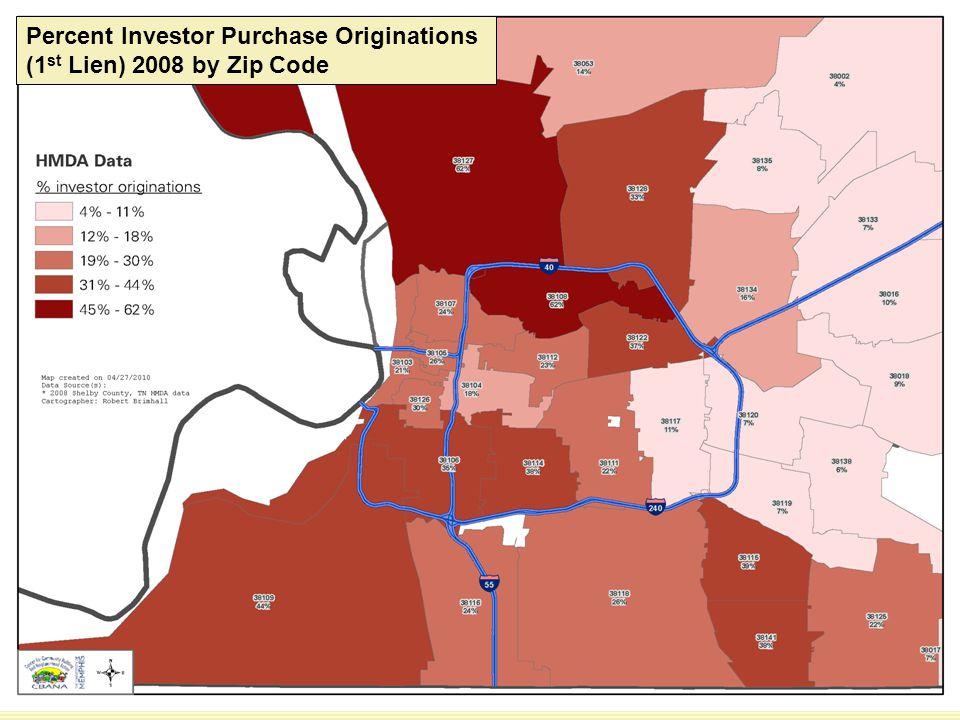 Percent Investor Purchase Originations (1 st Lien) 2008 by Zip Code