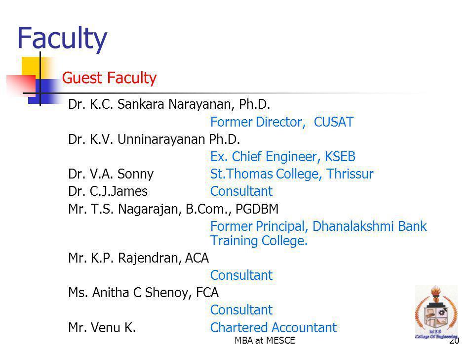 MBA at MESCE20 Dr.K.C. Sankara Narayanan, Ph.D. Former Director, CUSAT Dr.