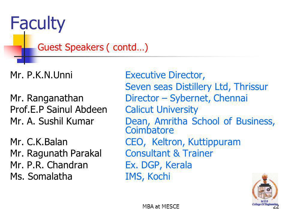 MBA at MESCE22 Mr.P.K.N.Unni Executive Director, Seven seas Distillery Ltd, Thrissur Mr.