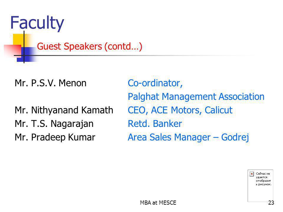 MBA at MESCE23 Mr.P.S.V. Menon Co-ordinator, Palghat Management Association Mr.