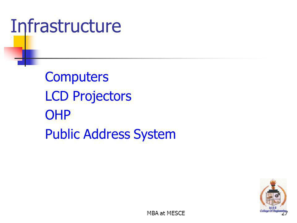 MBA at MESCE27 Computers LCD Projectors OHP Public Address System Infrastructure