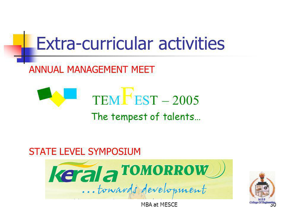 MBA at MESCE30 ANNUAL MANAGEMENT MEET STATE LEVEL SYMPOSIUM Extra-curricular activities TEM F EST – 2005 The tempest of talents…