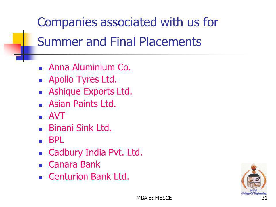 MBA at MESCE31 Companies associated with us for Summer and Final Placements Anna Aluminium Co.