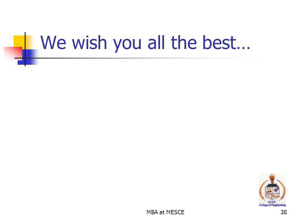 MBA at MESCE38 We wish you all the best…