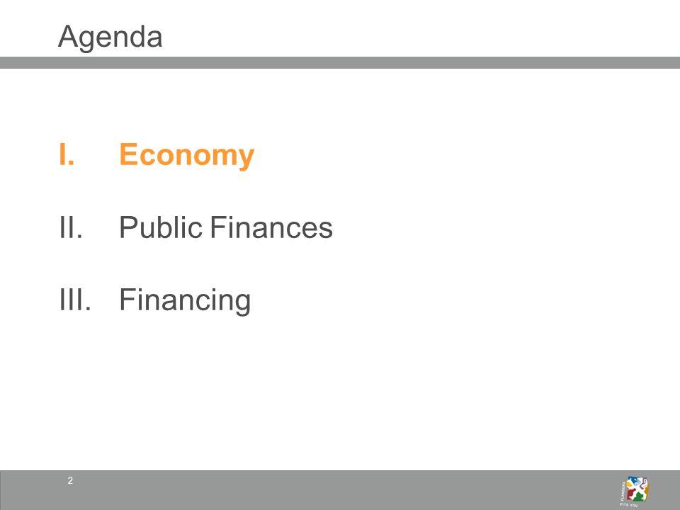 2 Agenda I.Economy II.Public Finances III.Financing