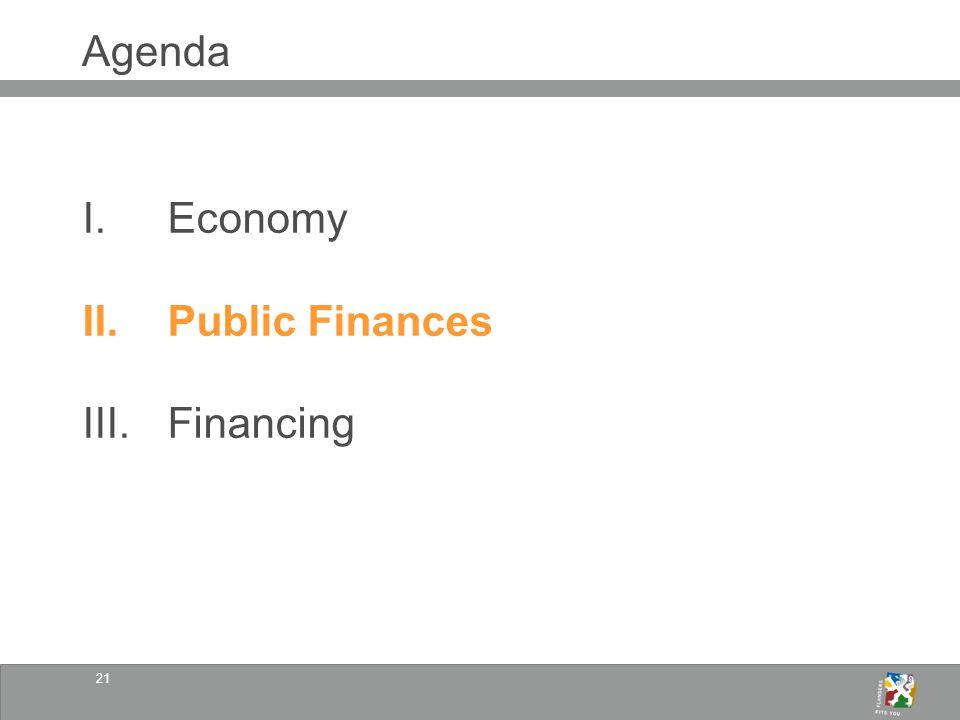 21 Agenda I.Economy II.Public Finances III.Financing