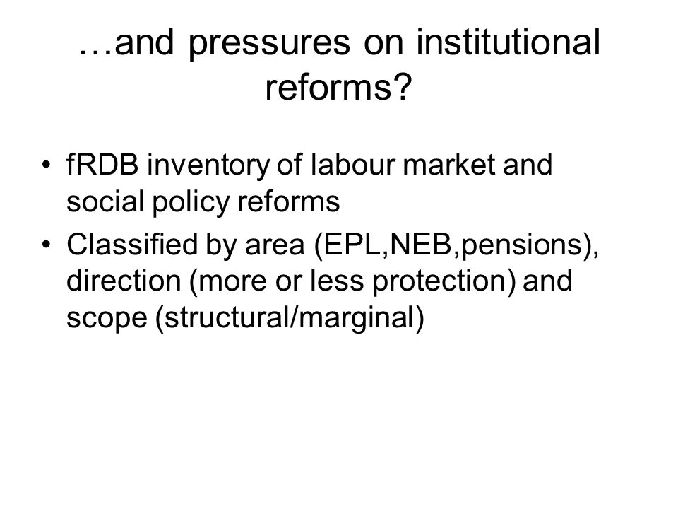 …and pressures on institutional reforms.
