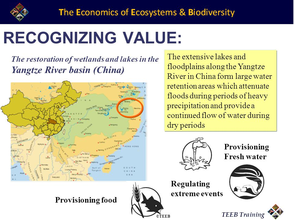 TEEB Training RECOGNIZING VALUE: The extensive lakes and floodplains along the Yangtze River in China form large water retention areas which attenuate floods during periods of heavy precipitation and provide a continued flow of water during dry periods Regulating extreme events Provisioning Fresh water Provisioning food The restoration of wetlands and lakes in the Yangtze River basin (China) ©TEEB