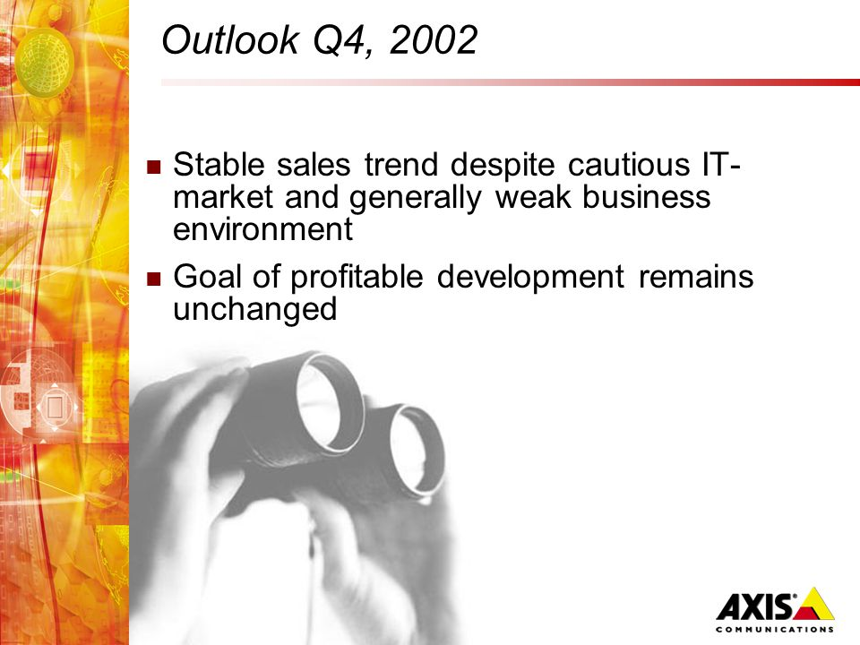 Outlook Q4, 2002 Stable sales trend despite cautious IT- market and generally weak business environment Goal of profitable development remains unchanged