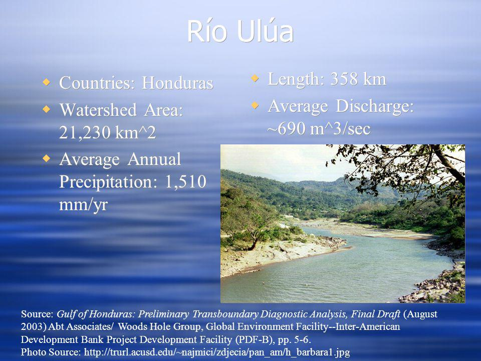 Río Ulúa Countries: Honduras Watershed Area: 21,230 km^2 Average Annual Precipitation: 1,510 mm/yr Countries: Honduras Watershed Area: 21,230 km^2 Average Annual Precipitation: 1,510 mm/yr Source: Gulf of Honduras: Preliminary Transboundary Diagnostic Analysis, Final Draft (August 2003) Abt Associates/ Woods Hole Group, Global Environment Facility--Inter-American Development Bank Project Development Facility (PDF-B), pp.