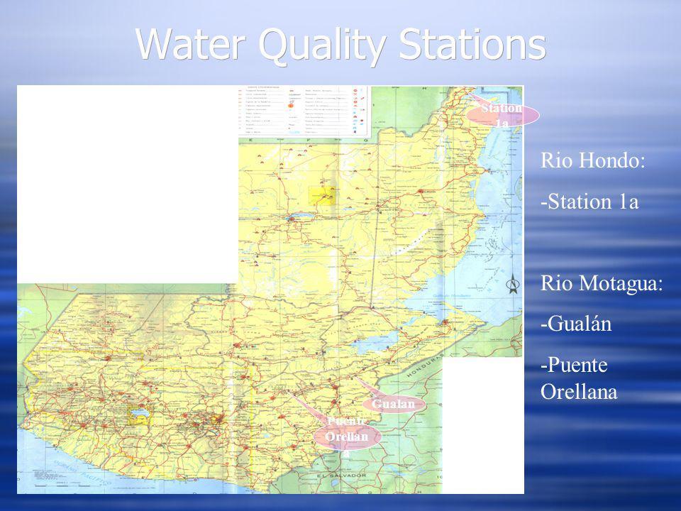 Water Quality Stations Station 1a Puente Orellan a Gualan Rio Hondo: -Station 1a Rio Motagua: -Gualán -Puente Orellana