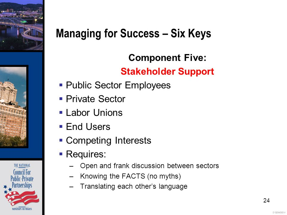O102004008OMI 24 Managing for Success – Six Keys Component Five: Stakeholder Support Public Sector Employees Private Sector Labor Unions End Users Competing Interests Requires: –Open and frank discussion between sectors –Knowing the FACTS (no myths) –Translating each others language