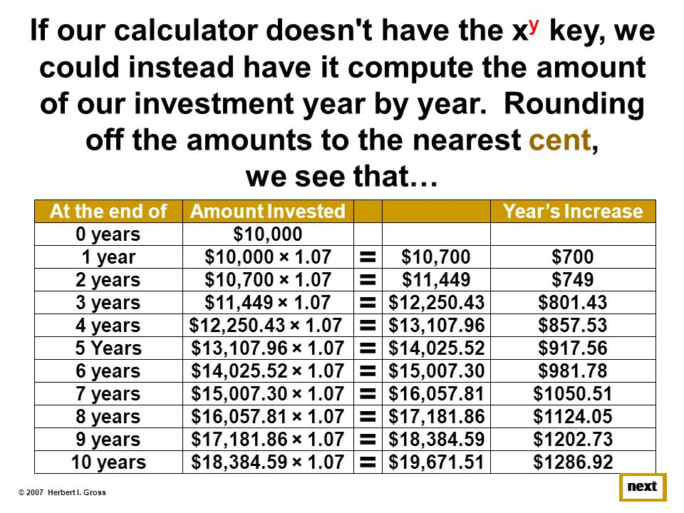 © 2007 Herbert I. Gross If our calculator doesn't have the x y key, we could instead have it compute the amount of our investment year by year. Roundi