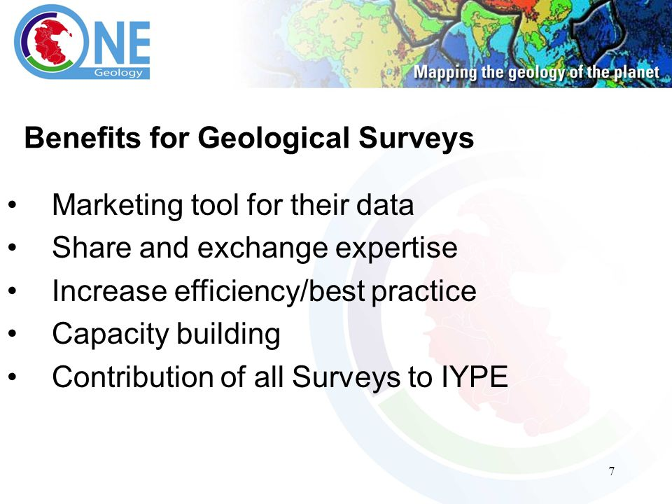7 Benefits for Geological Surveys Marketing tool for their data Share and exchange expertise Increase efficiency/best practice Capacity building Contribution of all Surveys to IYPE