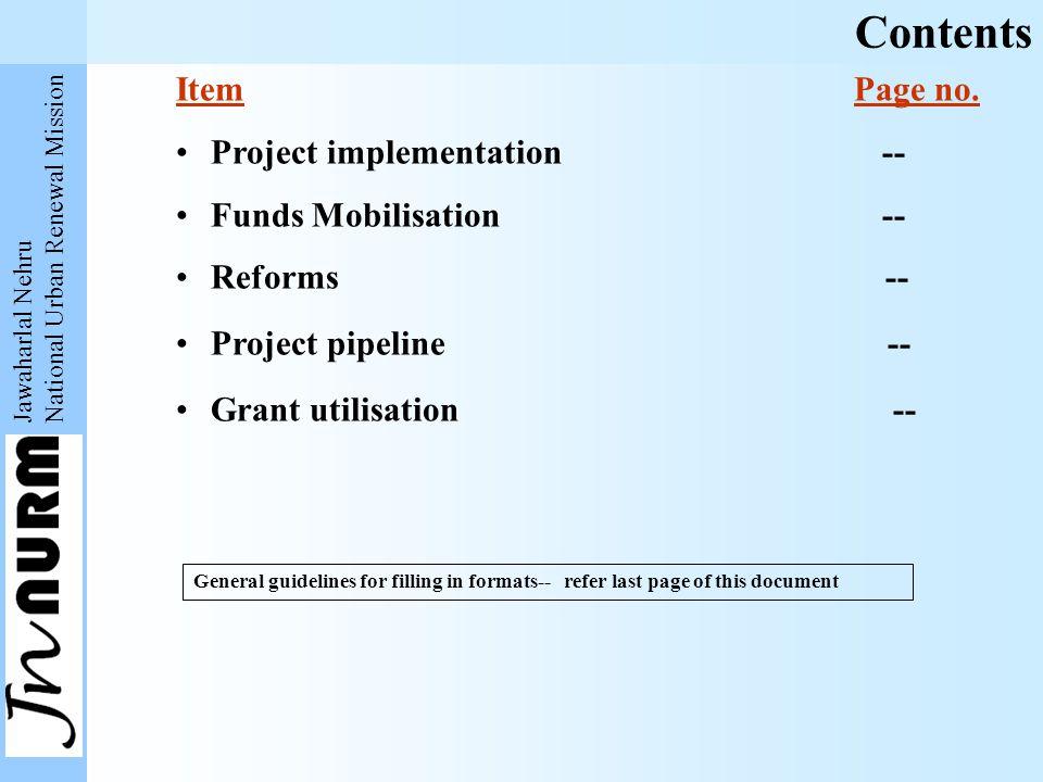 Jawaharlal Nehru National Urban Renewal Mission Item Page no.