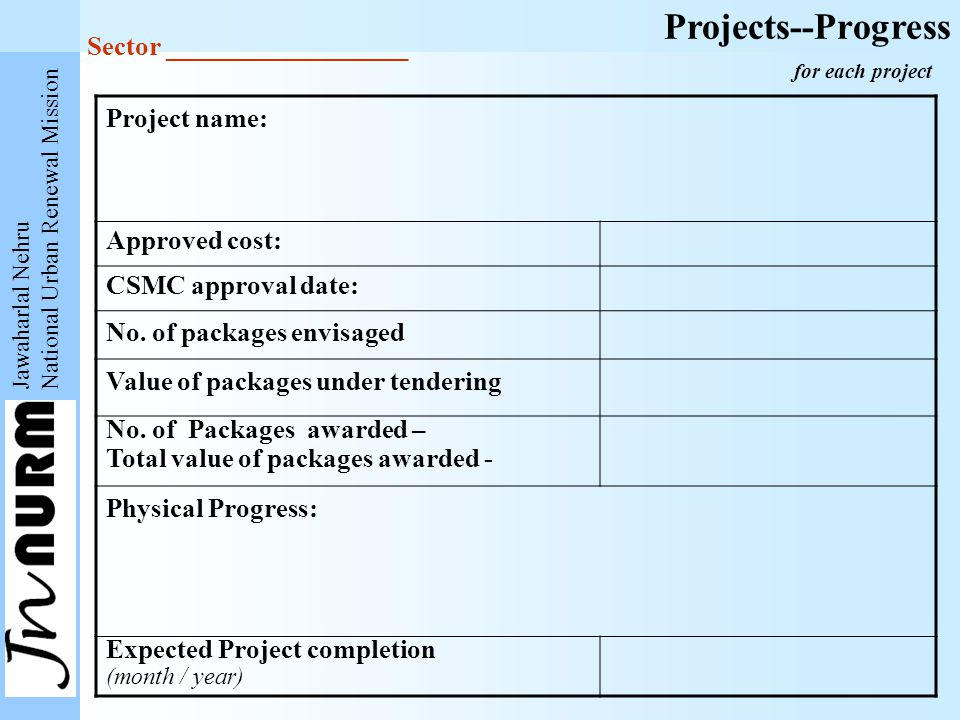 Jawaharlal Nehru National Urban Renewal Mission Projects--Progress Project name: Approved cost: CSMC approval date: No. of packages envisaged Value of
