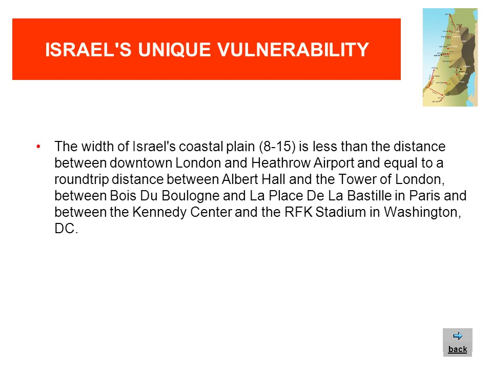 ISRAEL S UNIQUE VULNERABILITY The width of Israel s coastal plain (8-15 miles) is less than the length of DFW airport in Texas, equal to the width of Washington DC, San Francisco and Miami and equal to the distance between Wall Street and Columbia University in New York.
