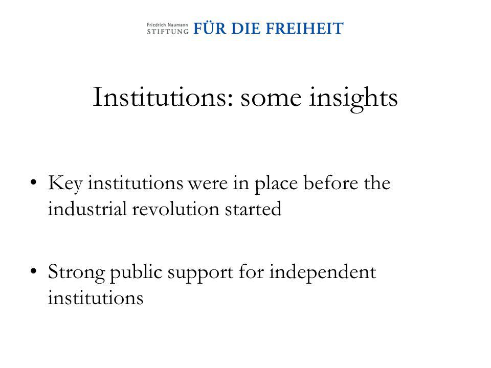 Institutions: some insights Key institutions were in place before the industrial revolution started Strong public support for independent institutions