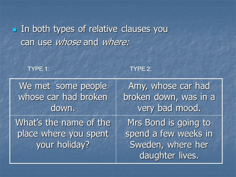In both types of relative clauses you In both types of relative clauses you can use whose and where: can use whose and where: We met some people whose car had broken down.
