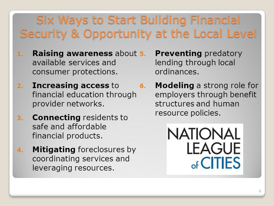Six Ways to Start Building Financial Security & Opportunity at the Local Level 1.