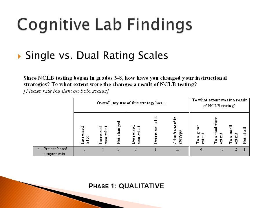 Single vs. Dual Rating Scales P HASE 1: QUALITATIVE