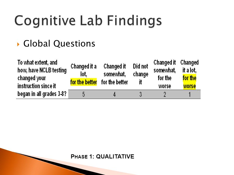 Global Questions P HASE 1: QUALITATIVE