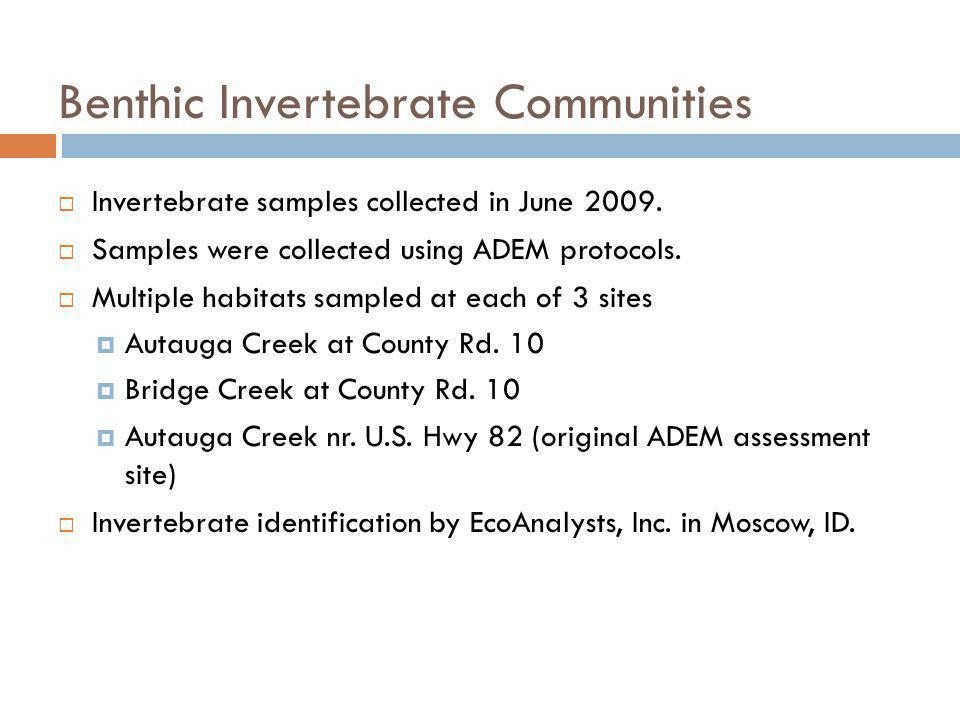 Benthic Invertebrate Communities Invertebrate samples collected in June 2009.