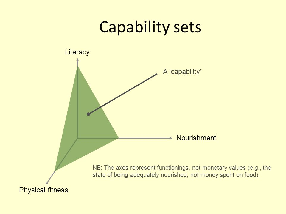 Capability sets Nourishment Literacy Physical fitness A capability NB: The axes represent functionings, not monetary values (e.g., the state of being