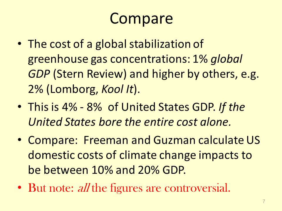 Compare The cost of a global stabilization of greenhouse gas concentrations: 1% global GDP (Stern Review) and higher by others, e.g. 2% (Lomborg, Kool