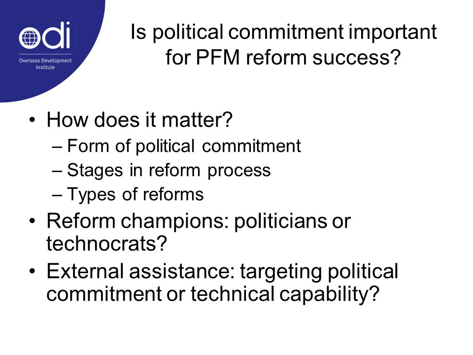 Is political commitment important for PFM reform success.