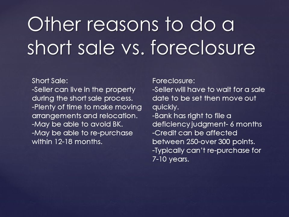 Other reasons to do a short sale vs.
