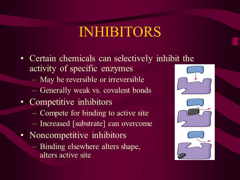 INHIBITORS Certain chemicals can selectively inhibit the activity of specific enzymes –May be reversible or irreversible –Generally weak vs.